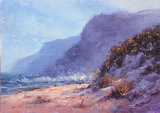 seascape oil painting with sand dune by andy dolphin