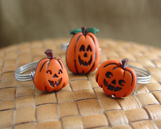 Jack-o-lantern fun button rings handmade by vicky brown