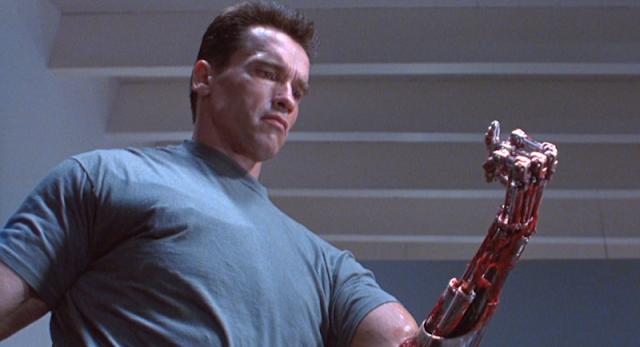 Arnold T-800 Terminator 2 arm torn skin