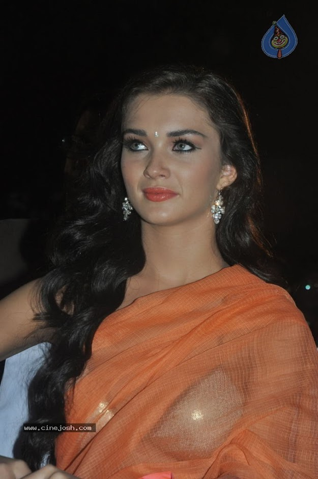 Amy Jackson in orange transparent saree - (2) -  Amy Jackson in Orange Transparent Saree at event