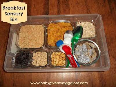 breakfast, sensory bin