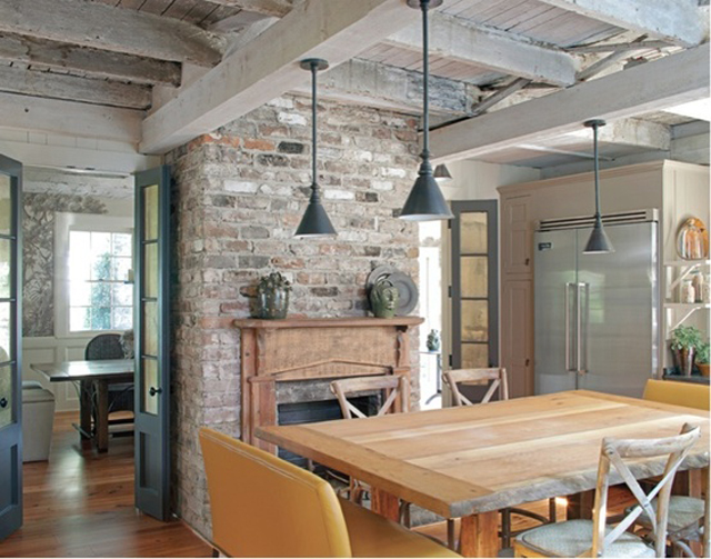 weathered gray ceiling and beams