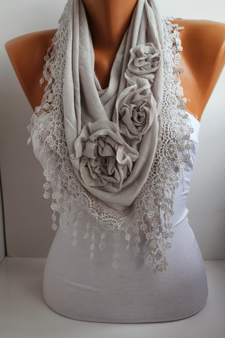 Light Gray Scarf - Headband -Cowl with Lace