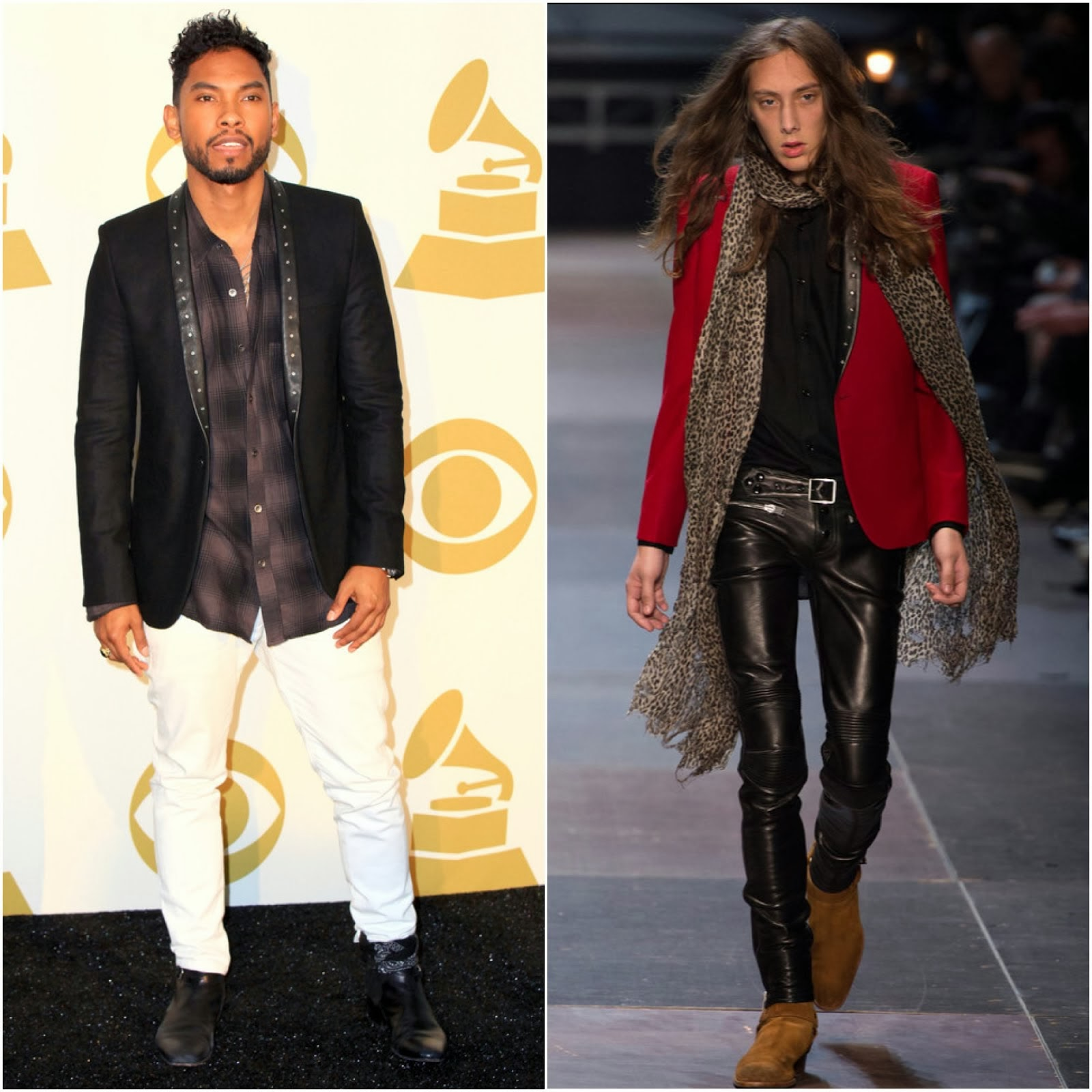 Miguel in Saint Laurent studded leather lapel jacket - Grammy Nominations Concert Live