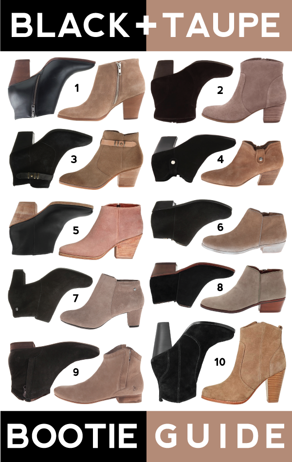 black + taupe bootie guide: 10+ pairs of booties for all budgets!