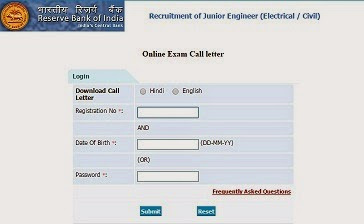 RBI Junior Engineer admit card