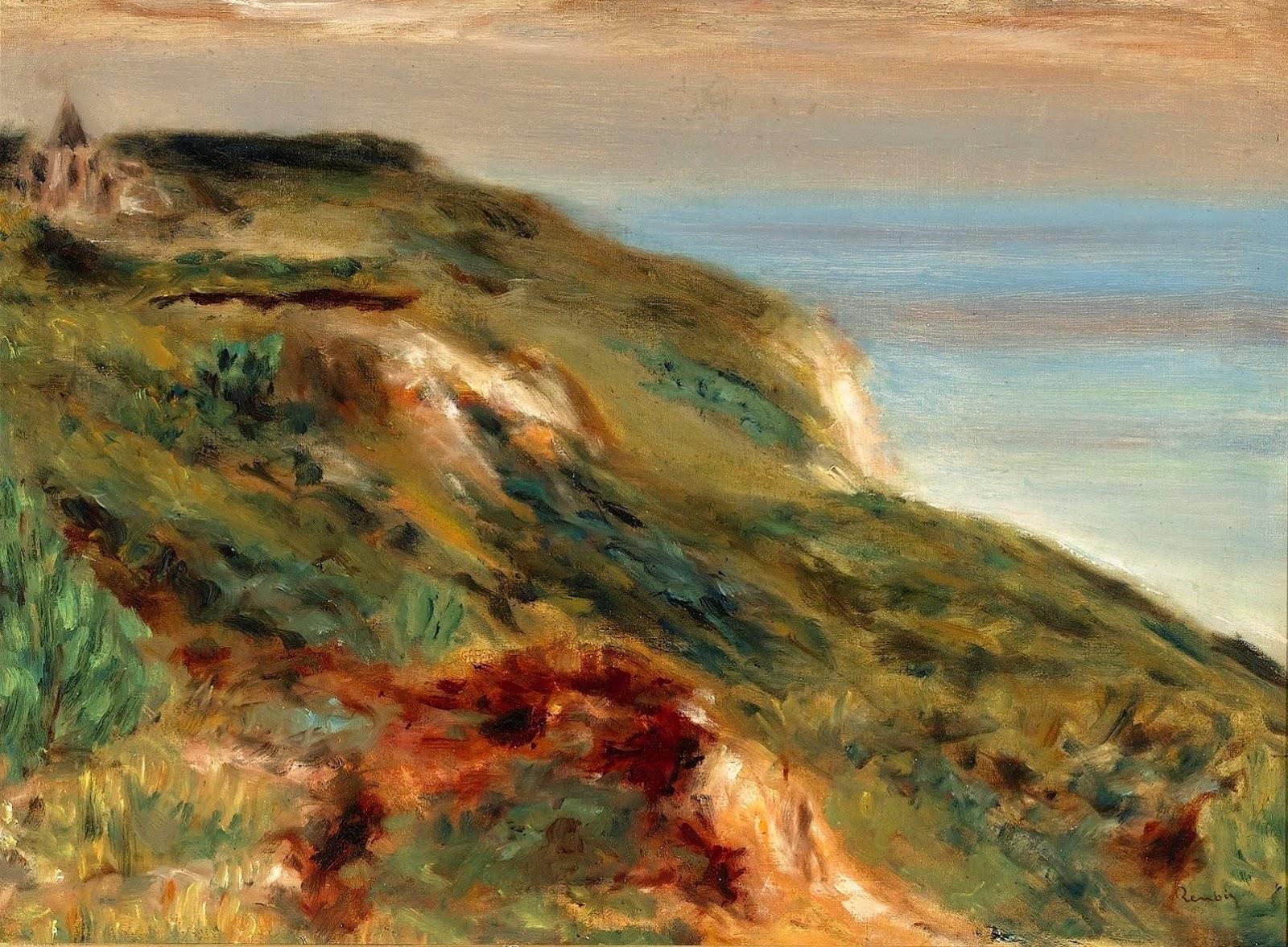 L'église de Varengeville et les falaises (A. Renoir, 1880)