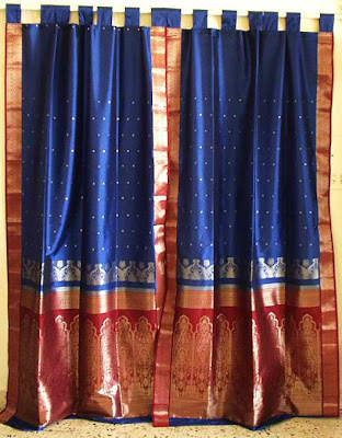 Sari Drapes, Sari Curtains, Indian Sari Curtains, Sari Drapes