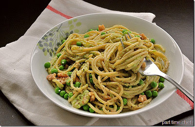 pasta pea walnut pesto