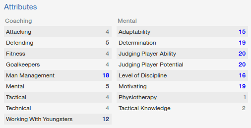 Football Manager Staff Attributes