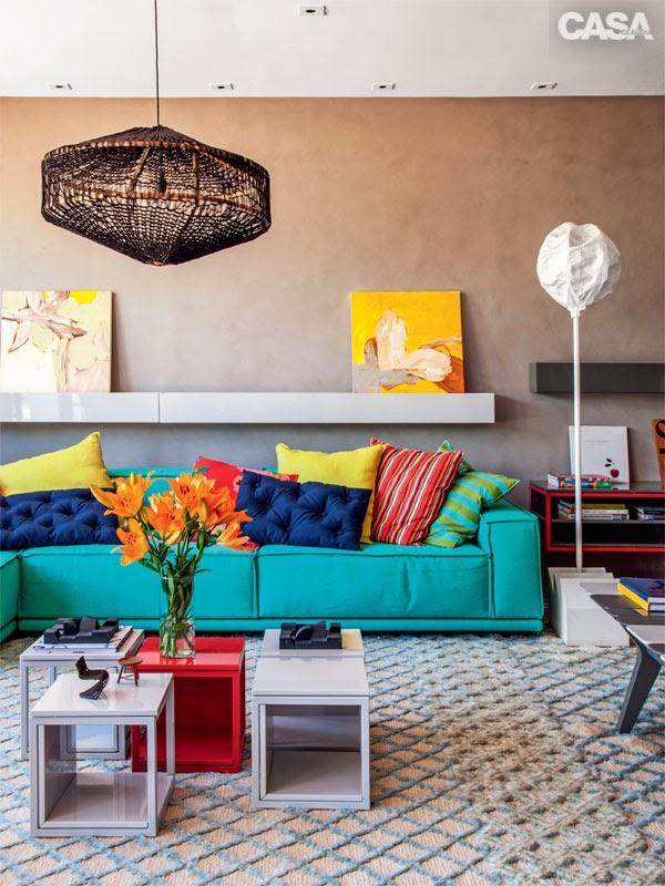 Coisa minha casa detalhes turquesa for Sala de estar turquesa