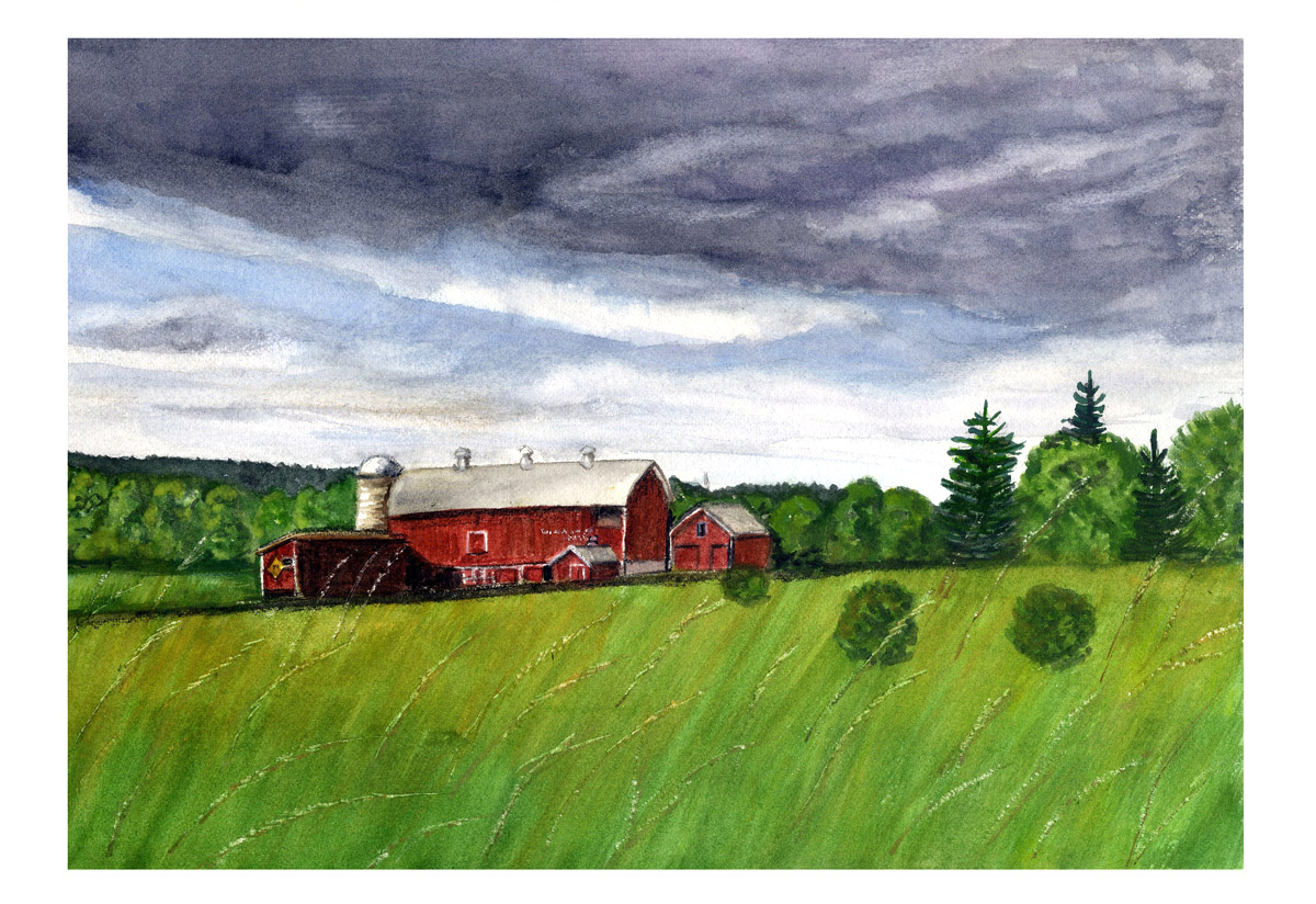 Watercolor Cards And Crafts Farm Paintings