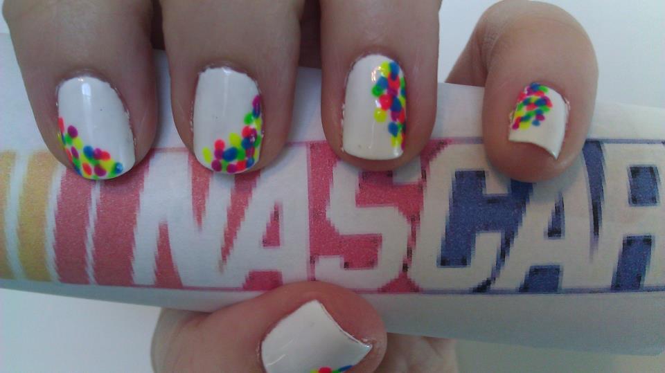 Nascar Nails! Gelish and Shellac gel polish with polka dots.