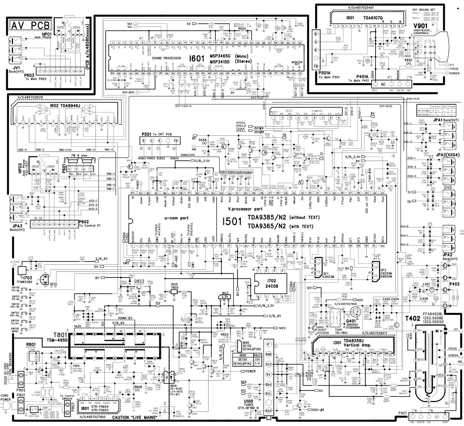 nec dte-29u1th - pf68t32 - schematic  circuit diagram  - using ics   str