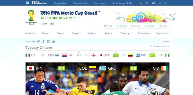 Zrzut ekranu strony Fifa.com