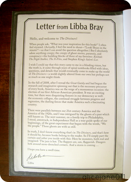 Letter from Libba Bray