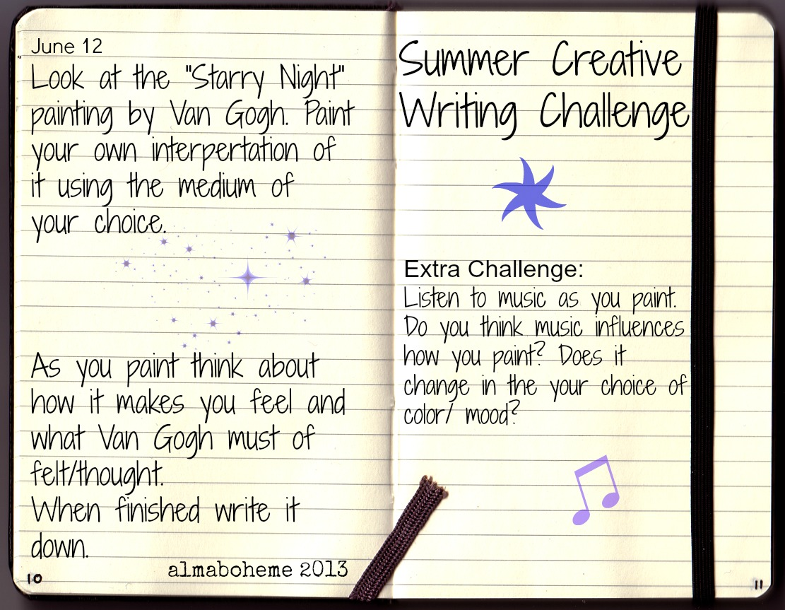 starry night - creative writing challenge for kids | alma boheme