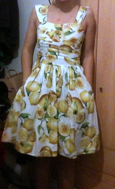 fruits dress, lemon dress, dress