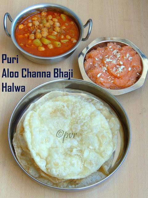 Puri, aloo channa bhaji, halwa