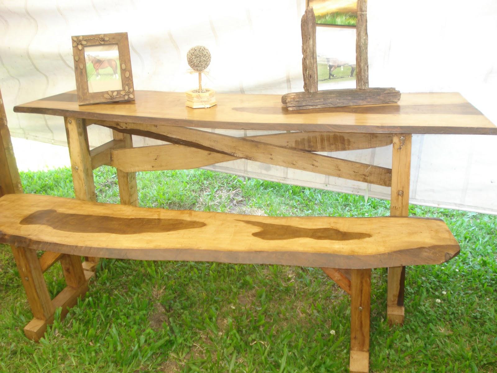 Jerivá Móveis e Artesanato: Mesa e banco de madeira (guajuvira) #496917 1600x1200