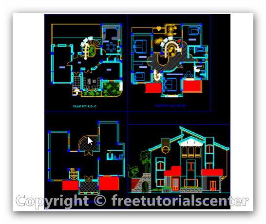 Villa plan design details dwg for Villa plan dwg