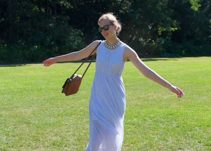 fancy lavendar summer dress with a statement necklace | ootd
