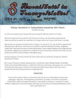 Convocatoria Chikueyi Amoxilhuitl in Tonanyoltlahtol 2017