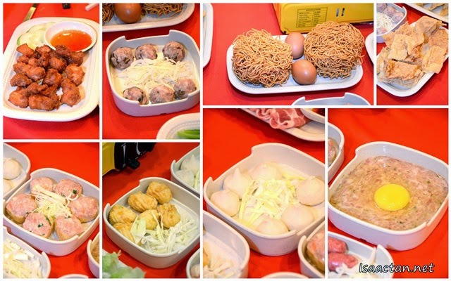 Check out the various ingredients and dishes which can be ordered to be thrown into the hot pot steamboat