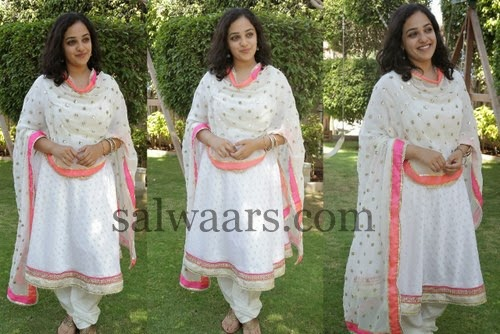 Nitya Menon White Printed Churidar
