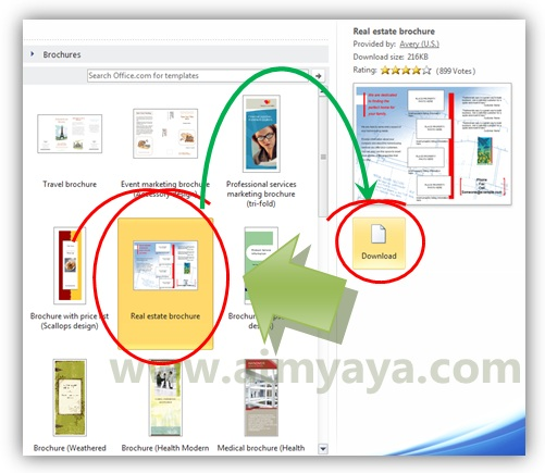 Gambar: Memilih template brosur real estate di microsoft word 2010