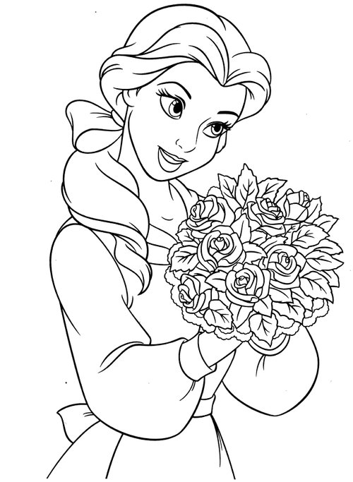 Disney Princesses Belle Coloring Pages >> Disney Coloring ...