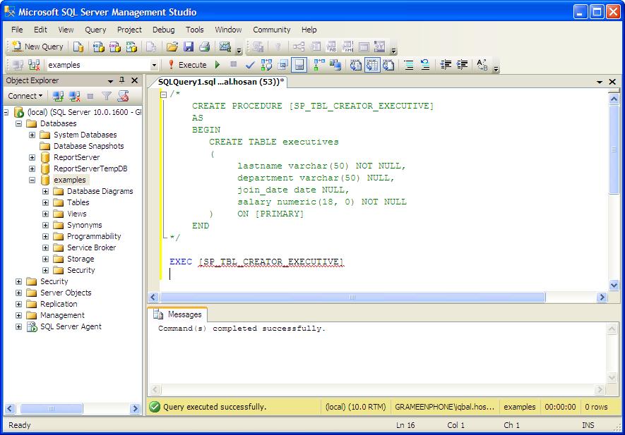 Examples mssql stored procedure create table database server tutorial - Mysql create table example ...