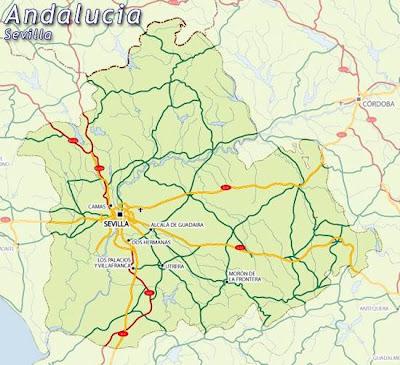 Sevilla Andalucía mapa de la ciudad