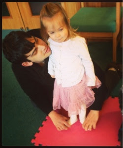 Daddy helping at baby ballet