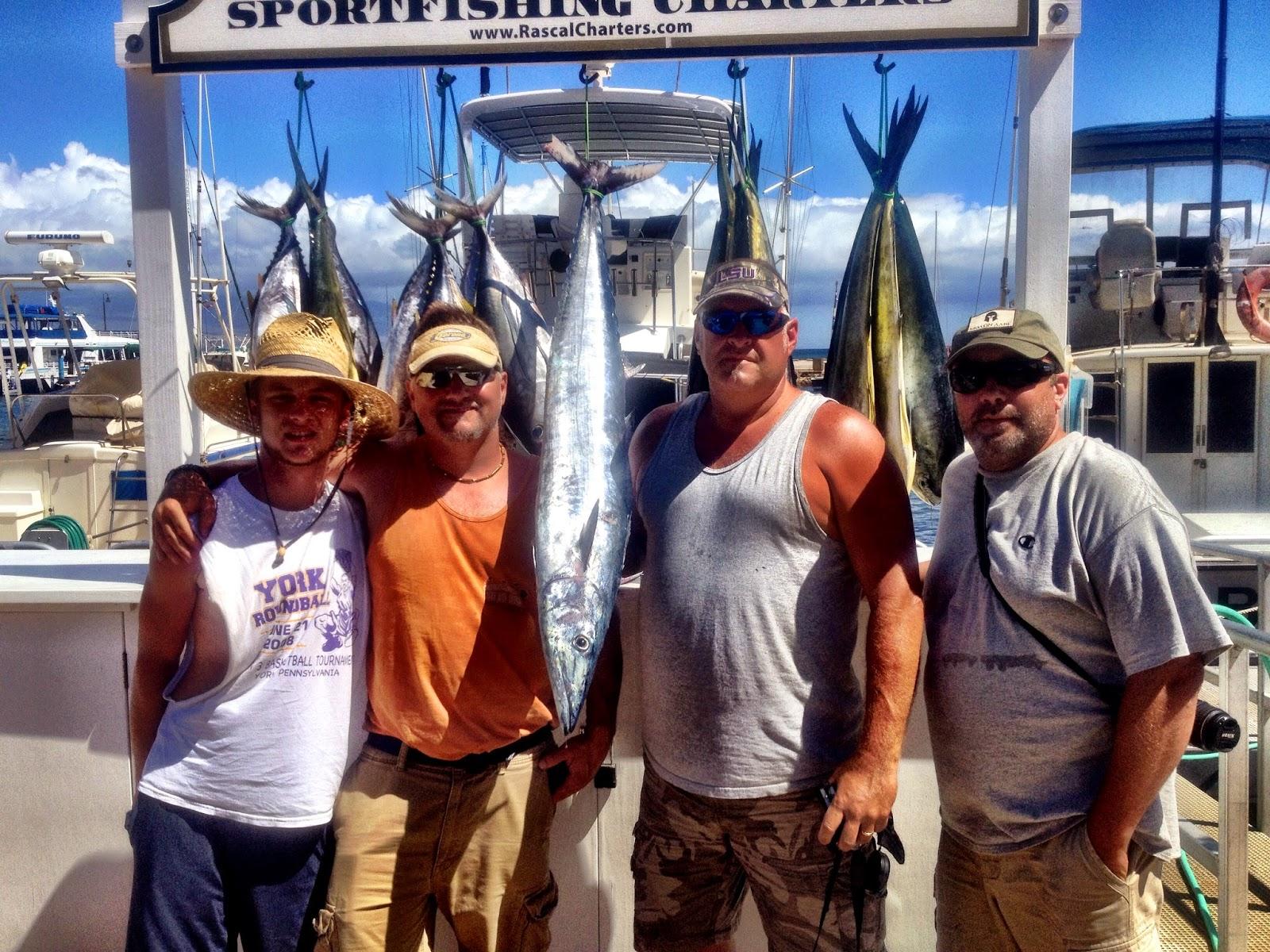 Catch of the Day: Mahi Mahi, Ahi, Aku Tuna and Ono, plus a small Marlin