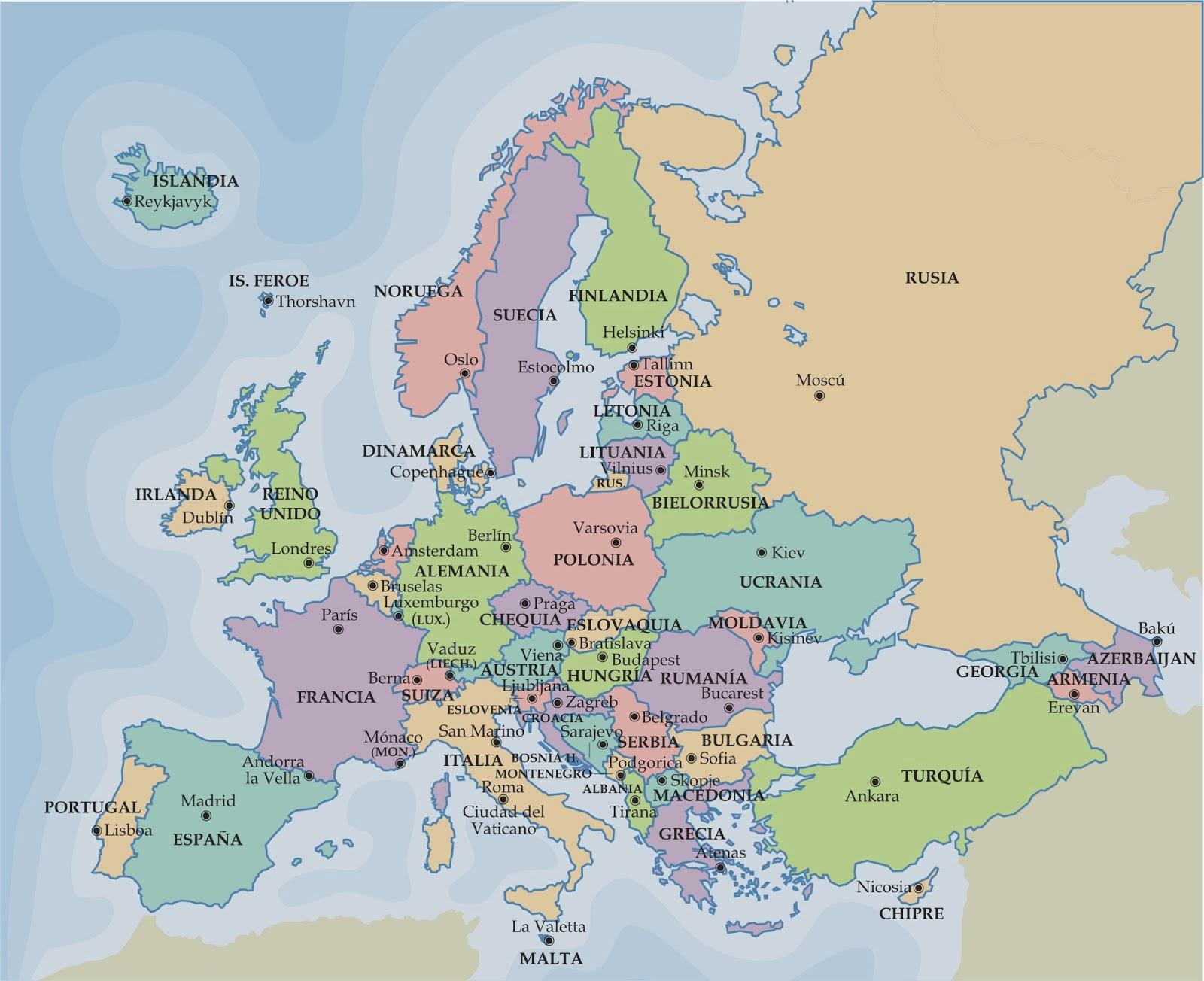 SOCIALES TIETAR Mapa poltico de Europa