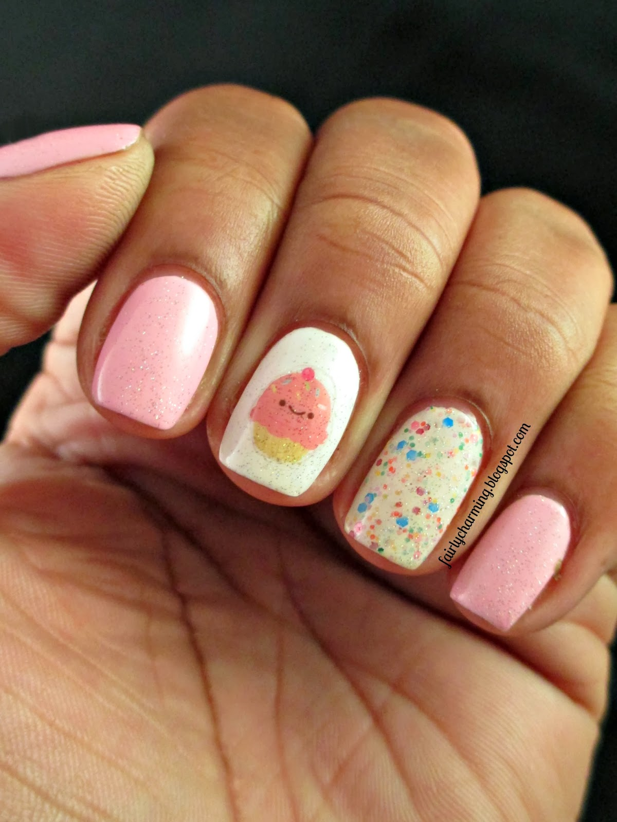 Cute nail designs for birthday happy birthday nail art ideas view images birthday cupcake all in one nails prinsesfo Images