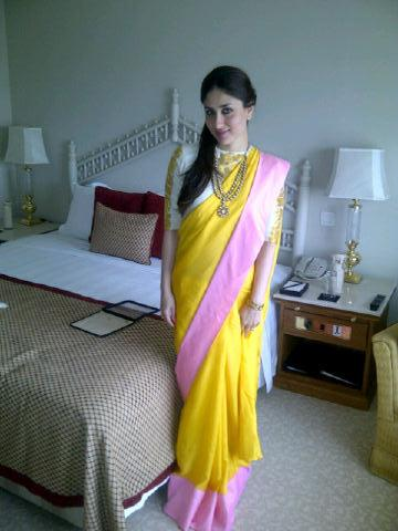 Kareena Kapoor in yellow saree - real life pic - Kareena Kapoor in Yellow Pink Saree at India Conclave