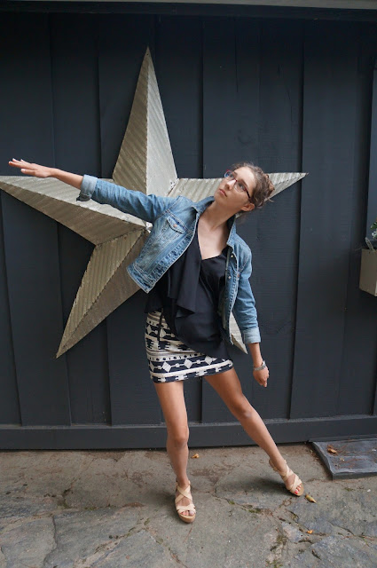 Candid, American Eagle jean jacket, H&M top, Topshop skirt, Joe Fresh Nude flatforms/platforms