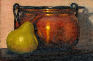 Oil painting of a green pear beside a copper pot.