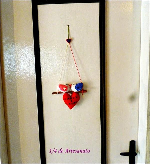 enfeite de porta casal de passarinhos em feltro