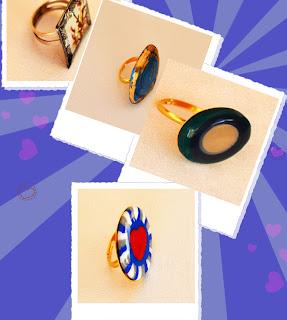 Χειροποίητα δαχτυλίδια από υγρό γυαλί, πολυμερικό πηλό (fimo) και papier-mache