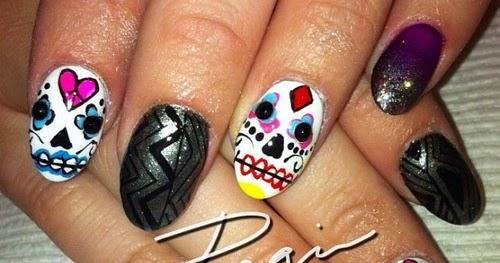 Sugar Skull Nail Art Nailic