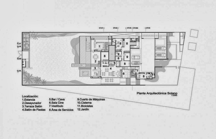 Ground floor plan of Casa del Agua by Almazán Arquitectos Asociados