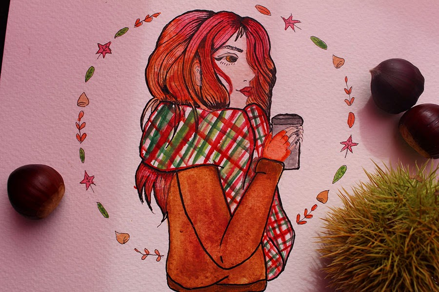 draw on monday, automne, enjoyk, blog, dessin, art, watercolor, marron, draw, draw on monday 15, octobre, feuilles,