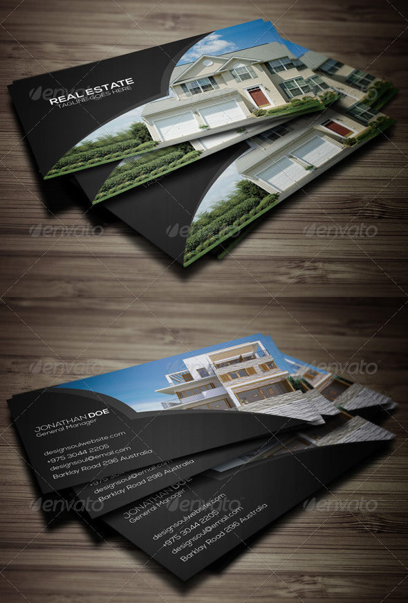 Top 10 best real estate business cards templates graphicbattle real estate business card psd template reheart Gallery