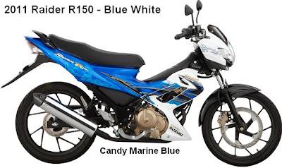 2011 Suzuki Raider R150 Blue White color