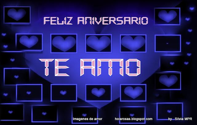 Regalos virtuales de amor con saludos de Feliz Aniversario ,ilustracion de conjunto de corazones azules de diferentes tamaños