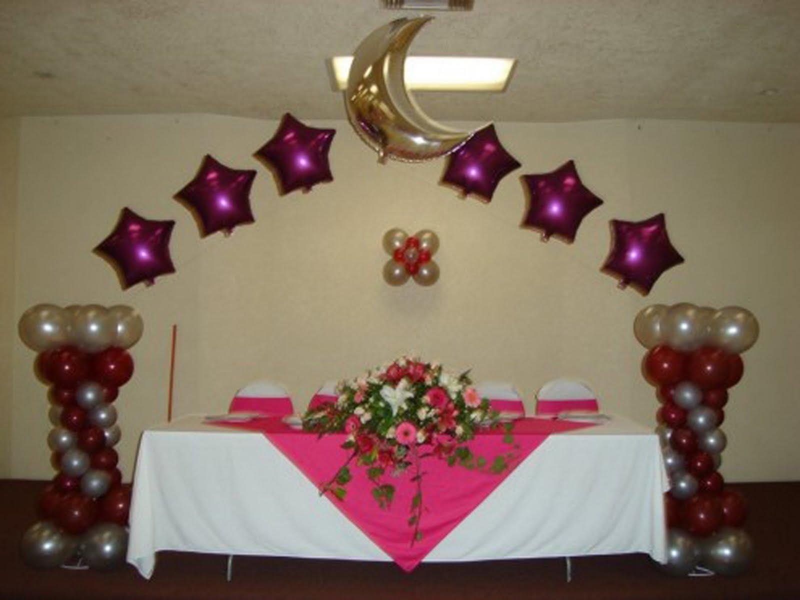 Paquete decoraci n xv a os con globos y telas for Decoracion de globos para xv anos