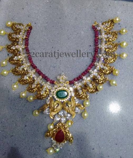 Peacock Set with Ruby Beads String